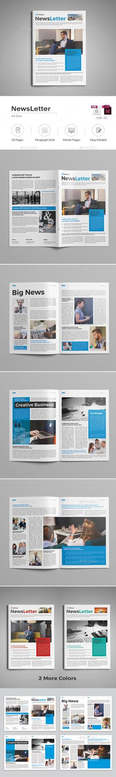 Newsletter Template InDesign INDD. Download here: https://graphicriver.net/item/newsletter-template/17596464?ref=ksioks