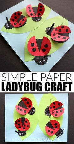 How to Make a Paper Ladybug Craft! A fun and colorful craft for preschool and kindergarten kids to make this spring during a bug or garden unit! How to Make a Paper Ladybug Craft! A fun and colorful craft for preschool and ki. Garden Crafts For Kids, Spring Crafts For Kids, Projects For Kids, Art For Kids, Craft Projects, Paper Crafts Kids, Craft Ideas, Garden Projects, Pot Mason Diy