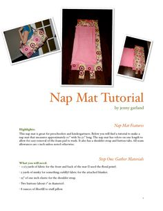 Nap mat tutorial by Jenny Garland