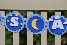 It's A Boy Banner Clouds Moon & Stars Theme by ThePaperBowShop, $20.00