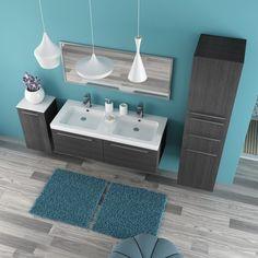 composizione bagno sospesa salchow con mobile doppio lavabo e pensili