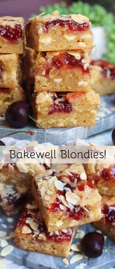 Thick and Gooey Bakewell Blondies with almonds and Jam! Thick and Gooey Bakewell Blondies with almonds and Jam! Mini Patisserie, Boutique Patisserie, Janes Patisserie, Patisserie Vegan, Tray Bake Recipes, Brownie Recipes, Baking Recipes, Cookie Recipes, Dessert Recipes