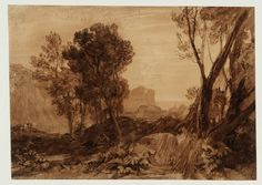 """Joseph Mallord William Turner """"Solitude ('The Reading Magdalene')"""" From Liber Studiorum Circa 1808 Watercolour on paper 185 x 260 mm Collection Tate List Of Paintings, Original Paintings, Oil Paintings, Landscape Drawings, Landscape Paintings, Landscapes, Turner Watercolors, Joseph Mallord William Turner, English Artists"""
