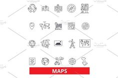 Maps, globe, compass, scheme, blueprint, atlas, diagram, picture, projection,print line icons. Editable strokes. Flat design vector illustration symbol concept. Linear signs isolated on background. Travel Icons