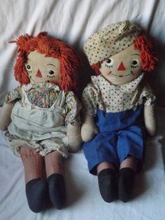 "rare 1946 Georgene Novelties, 23"" tall Raggedy Ann and Andy dolls"