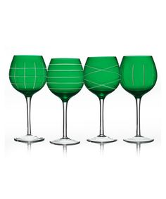 Take a look at this Green Medallion Goblet Set by Jay Import on #zulily today! $25 !!