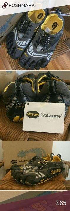 Size 8 Vibram Fivefinger Water and Hiking Shoes Yellow grey and black.  Never worn,  pull string laces with thick sole. Material is very lightweight and breathable. NWT Vibram Shoes Athletic Shoes