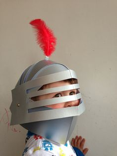 DIY brave knight party helmets