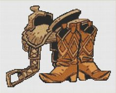 Boots and Saddle Cross Stitch Pattern, Instant Download Country and Western Counted Cross Stitch Chart, PDF Digital Download