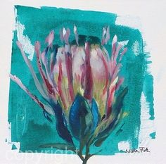 Turquoise Protea 2 by Nicola Firth Oil ~ 40cm x 40cm Protea Art, Protea Flower, Abstract Flowers, Watercolor Flowers, Flower Artwork, Watercolor Paintings, Abstract Canvas Art, Diy Canvas Art, Tropical Art