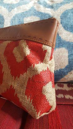 Red ikat printed big clutch