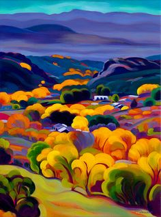 Illustration/Painting by Tracy Turner - New Works Gallery Easy Landscape Paintings, Landscape Art, Southwestern Art, Art Populaire, Painter Artist, Guache, Art Et Illustration, Wall Art Designs, Oeuvre D'art
