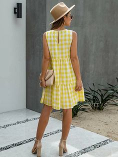 Modest Dresses Casual, Casual Dresses For Women, Cute Dresses, Smock Dress, Swing Dress, Party Dresses For Women, Plaid Dress, Outfits, Red Plaid