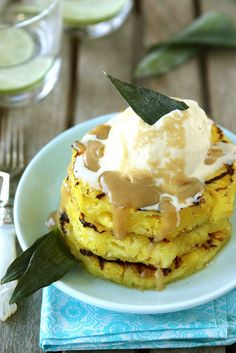 Grilled Pineapple with Brown Sugar Rum Sauce Recipe | cookincanuck.com #dessert
