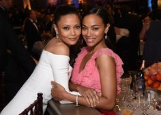 Thandie Newton and Zoe Saldana at an event for The 74th Golden Globe Awards (2017)