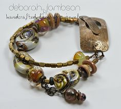 double strand brass and handmade glass beads