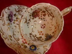 Antique H R Daniel Tea Cup and Saucer H P Floral Shell Shape C1828 35   eBay