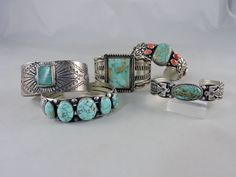 American turquoise and sterling silver Navajo bracelets