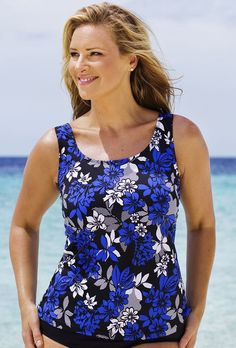6bfe51a2629e2 Beach Belle Royal Flowers Classic Top From The Plus Size Fashion Community  At www.VintageAndCurvy