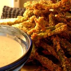 "Green Bean Fries Recipe By: ""These are tasty alternatives to both regular french fries and also a w. Beans Fry Recipe, Fries Recipe, I Love Food, Good Food, Yummy Food, Yummy Recipes, Recipies, Yummy Treats, Healthy Recipes"