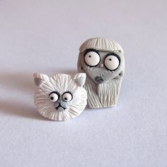 Persian White Cat Earrings, Weird Girl and Mr. Whiskers Frankenweenie Scary Jewelry Unique Funny Funky Earrings, Gifts Ideas For Girls