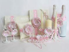 """Купить Набор свадебных аксессуаров """"Cream Rose"""" - бледно-розовый, свадебные аксессуары, аксессуары для свадьбы"""