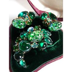 Weiss art glass brooch clip earrings ($142) ❤ liked on Polyvore featuring jewelry, earrings, clip on earrings, glass jewelry, clip earrings, clip back earrings and glass earrings