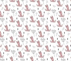 Adorable little baby bunny geometric scandinavian style rabbit for kids gender neutral black and white pink fabric - custom fabric and wallpaper inspiration for kids clothes fun fashion and trendy home decorations.
