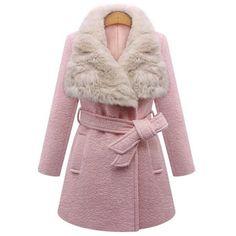 ae3387e2f0 Stylish Faux Fur Collar Long Sleeve Self Tie Belt Coat For Women ( 55) ❤