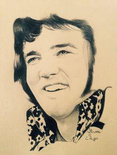 Beautiful drawing of 1972 ELVIS PRESLEY by Warren Clarke ©   See more of his beautiful Elvis drawings on   https://www.facebook.com/warren.clarke.9066/media_set?set=a.268704319982827.1073741827.100005297838042&type=3