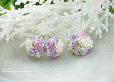 Jewellery: Jewellery with white peonies. Earrings and Pendant - Fito Art