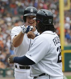 Detroit Tigers center fielder Don Kelly, left, is congratulated by teammate Prince Fielder after his three-run home run in the sixth inning off Cleveland Indians starting pitcher Justin Masterson during a baseball game in Detroit, Sunday, June 9, 2013. (AP Photo/Carlos Osorio)