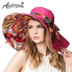 FuzWeb:[AETRENDS] Design Flower Foldable Brimmed Sun Hat Summer Hats for Women Outdoor UV Protection Z-2657