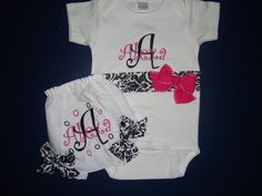 Personalized Baby Gift Set with Onsie and  Diaper Cover Embroidered -- Can change Colors-- on Etsy, £21.10
