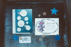 Science and stars inspired wedding stationary