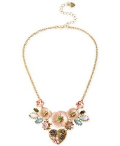 jewelry idea - Betsey Johnson Gold-Tone Heart and Flower Frontal Necklace | macys.com