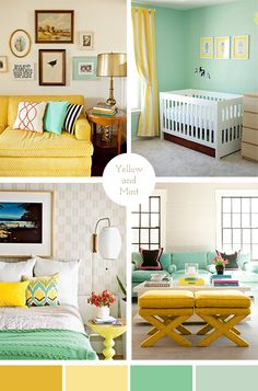 Yellow and Mint bedroom colour scheme