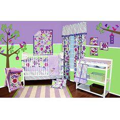 Bacati Purple Botanical 10pc Nursery In A Bag Bedding Set Value
