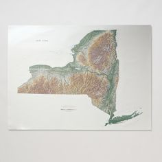 Topographic New York Wall Map   Schoolhouse Electric & Supply Co.