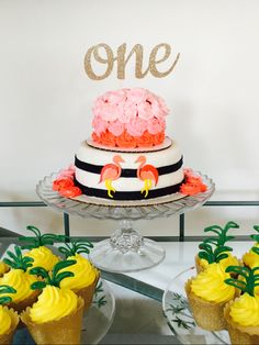 First Birthday Cake, Smash Cake, Flamingos, pineapple #lalleycakes
