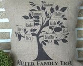 Family Tree Burlap Pillow Personalized