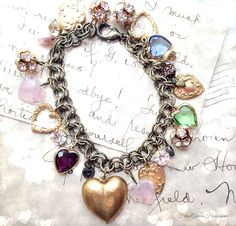 One of a Kind Lucky ##Heart Lovers #Charm #Bracelet #FrenchGardenHouse.com,#Frenchgardenhousestyle #jewelry