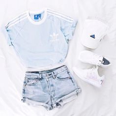 Light-blue t-shirt, jeans, adidas hat and white shoes Ho loutfit per lestate#summeroutfit ,Adidas Shoes Online,#adidas #shoes