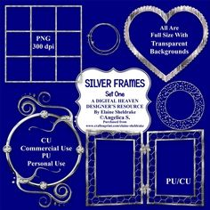 Beautiful Silver Frames Set One.    Consisting of:  7 x Silver Frames  CU Derivative Licence    Designer Resource For Commercial Use - Full Size - PNG Transparent Background - 300 dpi  Seven beautiful full size digital embelishments on transparent backgrounds. Perfect for scrapbook pages,  card making and all manner of paper crafts. They can be reduced for taggers and to fit smaller cards and scrap pages.  Commercial Use and Personal Use Designer Resource. They must not be used, sold or…