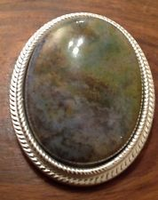 Jasper Green Moss Gemstone Agate 30x40mm Cabochon Cameo Scarf Clip Vintage 70s