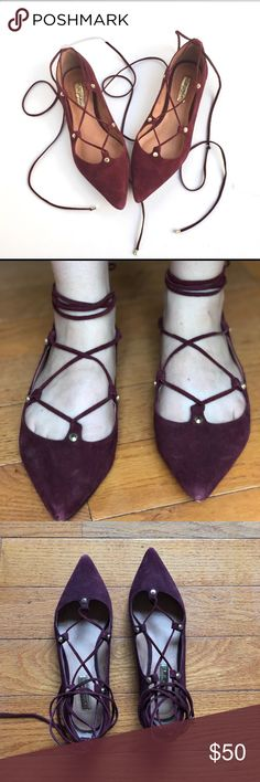 Halogen Cabernet Lace up Flats In excellent condition, worn once or twice. Thanks for shopping my closet! Please no offers in comments, no trades, no lo ball offers. No further modeling. Thanks again! Halogen Shoes Flats & Loafers