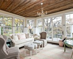 sweet wood ceiling and great idea for 4 season porch
