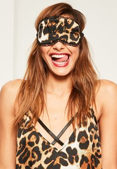 Missguided - Brown Leopard Print Slogan Eyemask