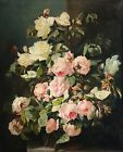 c.1820 HUGE FRENCH REALIST STILL LIFE OIL ON CANVAS - FLOWERS ON LEDGE - ROSES