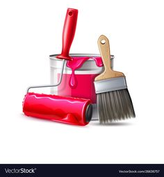 paint roller, brush and bucket with pink pa. Painting Logo, Types Of Painting, Labor Day Holiday, Pvc Windows, Tiffany Art, Red Paint, 3d Wall, Your Paintings, Tool Set